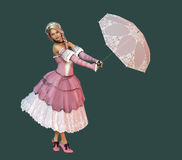 Nice Weather Today CA. 3D computer graphics of a girl in a dress in the French romantic style and a parasol Stock Photos