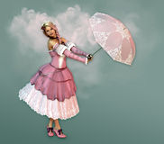 Nice Weather Today. 3D computer graphics of a girl in a dress in the French romantic style and a parasol Stock Photos