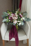 Nice wedding bouquet in room Stock Images