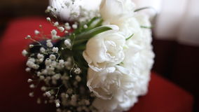 Nice wedding bouquet of white tulips on red branch stock footage