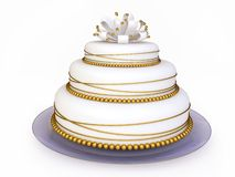 Nice Wedding Cake in 3D. With Marzipan Flower Stock Images