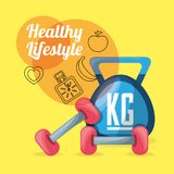 Nice weights tools to do exercise and carry healthy life. Vector illustration Royalty Free Stock Images