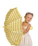 Nice weinig geïsoleerdea dame met paraplu Royalty-vrije Stock Fotografie
