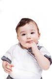 Nice weinig kind dat op witte achtergrond wordt geïsoleerdr Stock Foto's
