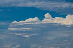 Nice white clouds on blue sky background abstract. Abstract picture of blue sky and white clouds Stock Photo