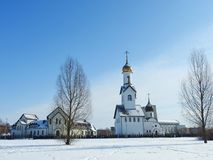 Beautiful white orthodox church, Lithuania Stock Images