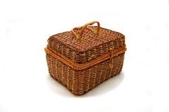 Nice wicker wooden rectangular basket Stock Images