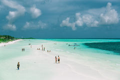 Nice wide view of tropical  beach and tranquil clear ocean and blue sky Royalty Free Stock Photos