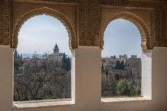 Nice windows and a view of the ancient Arabian palace Alhambra. Granada, Spain Stock Photo