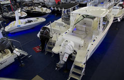 Nice winter boat expo in City Dallas Stock Photography