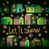 Nice winter card with Houses set. Vector image. Royalty Free Stock Photo