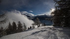 A winter day in the swiss alps Royalty Free Stock Photography