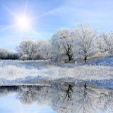 Nice winter lake scene Royalty Free Stock Images