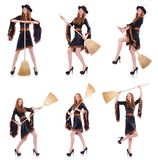 The nice witch with broom on white Stock Image