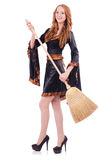 Nice witch with broom Stock Image