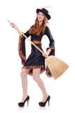 Nice witch with broom Royalty Free Stock Images