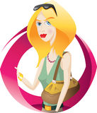 Nice woman. Nice blond woman and bag Royalty Free Stock Images