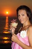 Nice woman on the beach Stock Photo