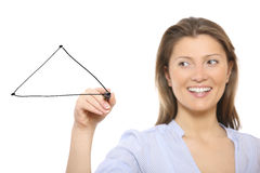 Nice woman drawing a triangle. A picture of a nice woman drawing a triangle over white background Stock Photo