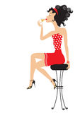 Nice woman drinking martini Royalty Free Stock Images