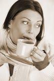 Nice woman drinking tea royalty free stock photos