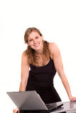 Nice woman expressing positivity with laptop. Computer royalty free stock image
