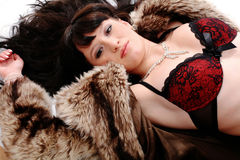 Nice woman in fur Royalty Free Stock Images