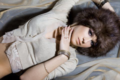Nice woman in fur hat Stock Photography