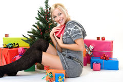 Nice woman glad her gift Stock Photo