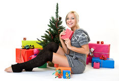 Nice woman glad her present Royalty Free Stock Photos