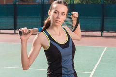 Nice woman holding racket Royalty Free Stock Image