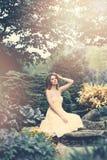 Nice Woman in Japanese Garden Stock Photos