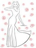 Nice woman in a long dress among roses Stock Photos