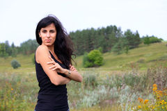 The nice woman on the nature,. In Ukrainian field Stock Photography