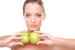 Nice woman portrait with apples Stock Images