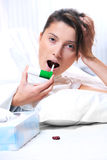 Nice woman with sore throat Stock Photos