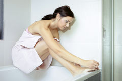 Nice woman after taking bath Royalty Free Stock Image