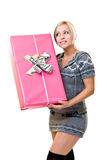 Nice woman thinking, what is in the box?! Royalty Free Stock Photo
