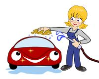 Nice woman washes car. A nice young woman washes a  red happy car Stock Photos