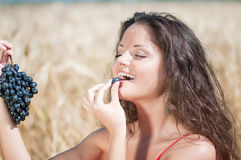 Nice woman in wheat field eating grapes. Stock Photos