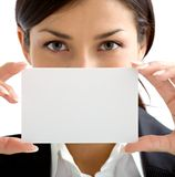 Nice woman with white card Stock Photos