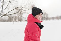 Nice woman in winter outdoors having fun royalty free stock images