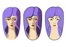Nice women with purple hair illustration vector illustration