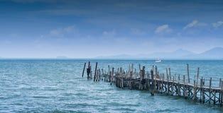 Nice wooden bridge with blue sea background at Samui island Royalty Free Stock Photo