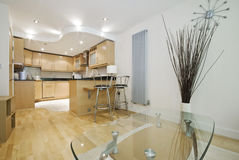 Nice wooden finish open plan kitchen