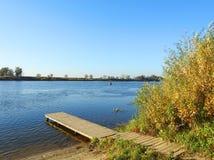 Wooden footbridge near river Nemunas, Lithuania royalty free stock images