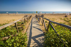 Nice wooden road to beach, sunny day Royalty Free Stock Photos