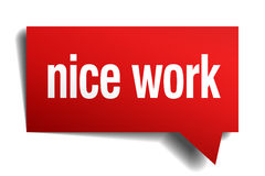 nice work red paper speech bubble Royalty Free Stock Image