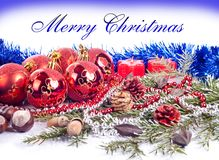 Nice xmas background. Xmas background made from xmas balls, candles, fir tree and blue ribbon Stock Photos