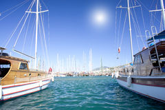 Nice yachts on an anchor in harbor. Turkey. Stock Images